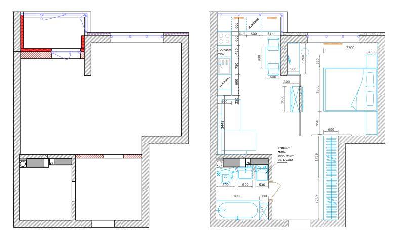 Дизайн однокомнатной квартиры в Киеве.  Планировка  до и после