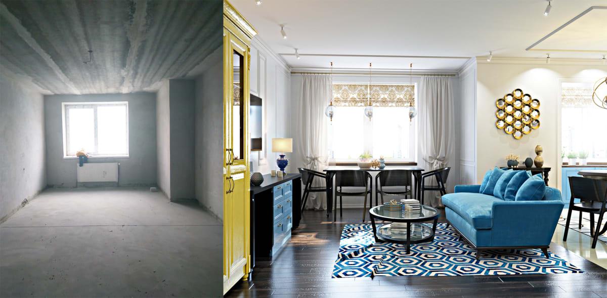 Дизайн интерьера трехкомнатной квартиры Черкассы. Фото до и после.