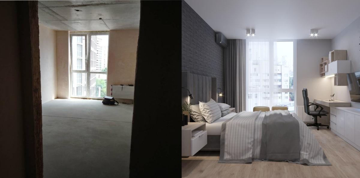 Дизайн smart квартиры в Киеве. Спальня фото до и после