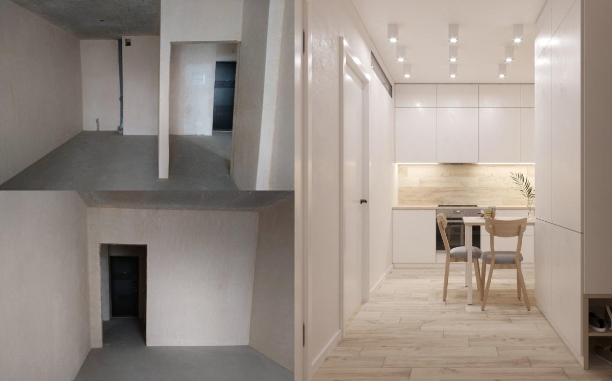 Дизайн smart квартиры в Киеве. Кухня фото до и после