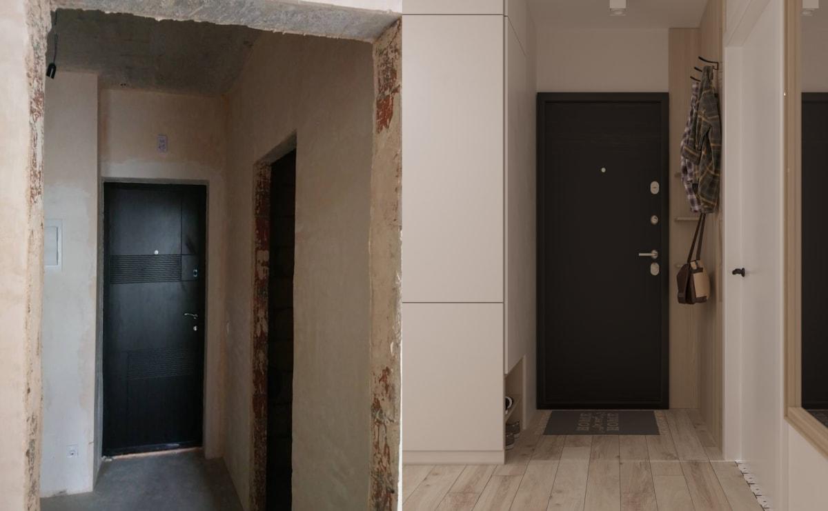 Дизайн smart квартиры в Киеве. Прихожая фото до и после