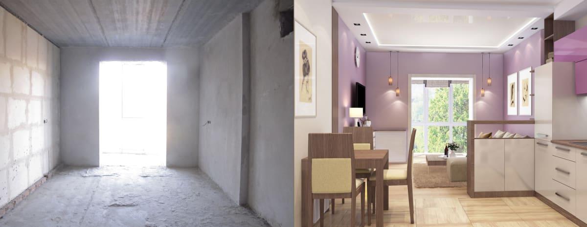Дизайн интерьера квартиры Черкассы. Гостиная фото до и после