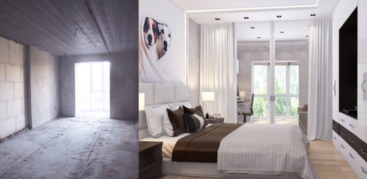 Дизайн интерьера квартиры Черкассы. Спальня фото до и после