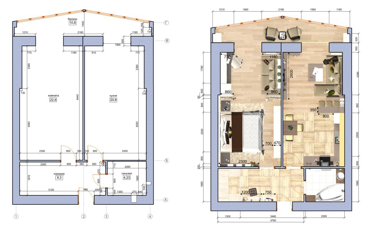 Дизайн интерьера квартиры Черкассы. Планировка фото до и после