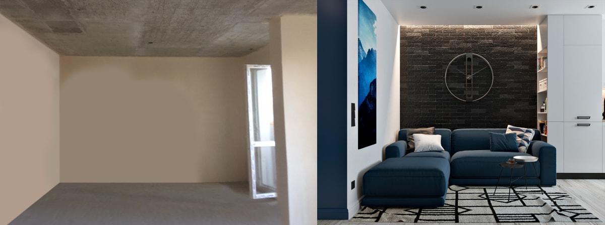 Дизайн однокомнатной квартиры в Киеве.  фото до и после