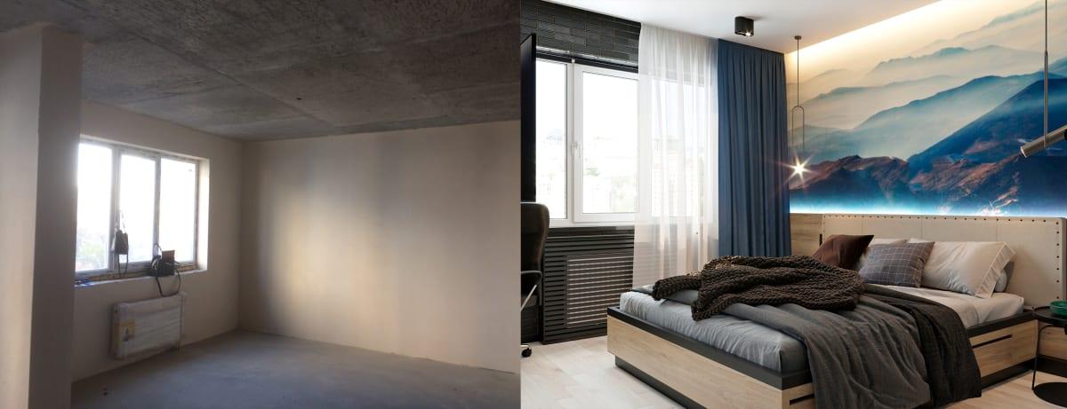 Дизайн однокомнатной квартиры в Киеве.  Спальня фото до и после