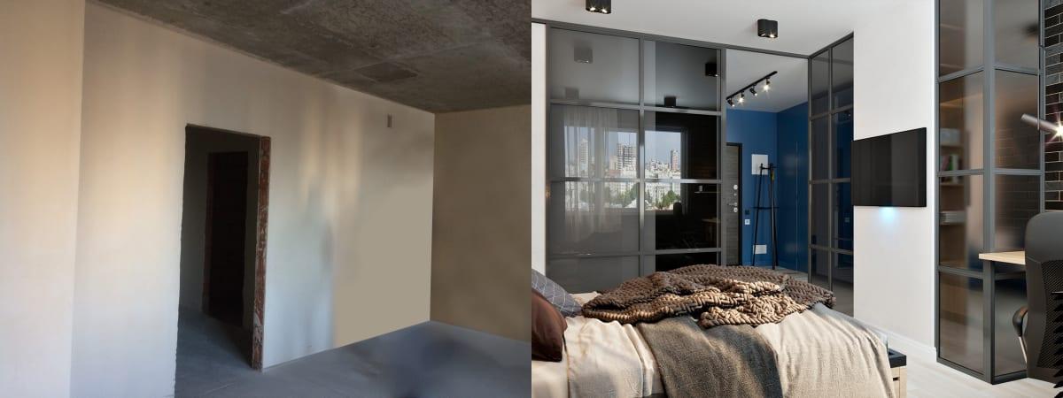 Дизайн однокомнатной квартиры в Киеве.  Спальня до и после