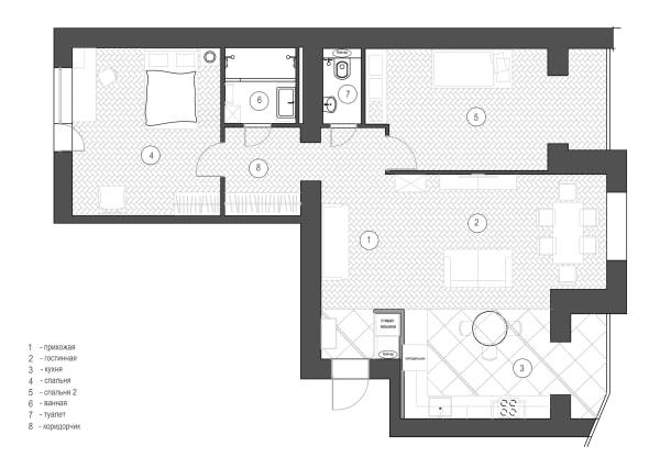 Дизайн интерьера трехкомнатной квартиры Черкассы. Перепланировка  фото