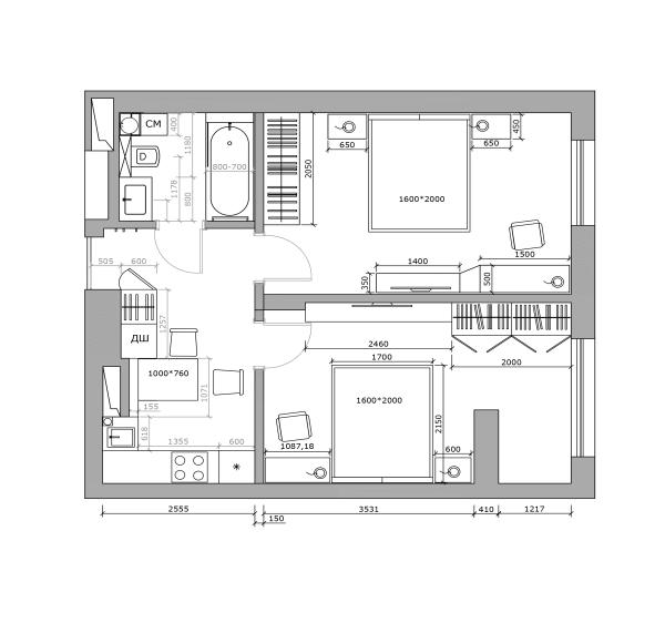 Дизайн smart квартиры в Киеве перепланировка