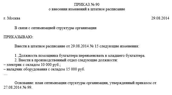 О внесении изменения в штатное расписание приказ