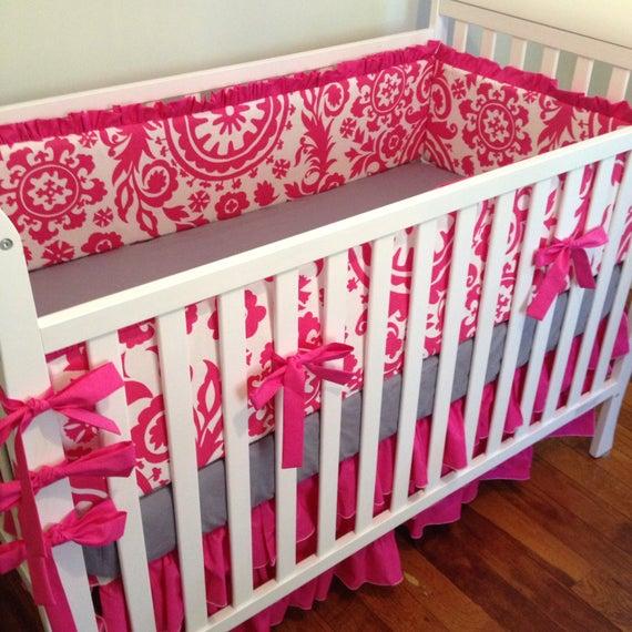 Hot pink crib bedding