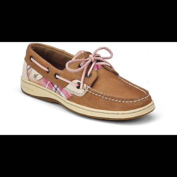 Pink plaid sperry boat shoes