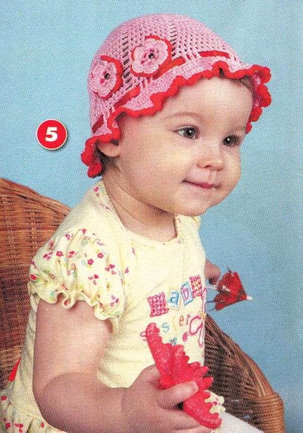Детские шапки для девочек крючком схемы