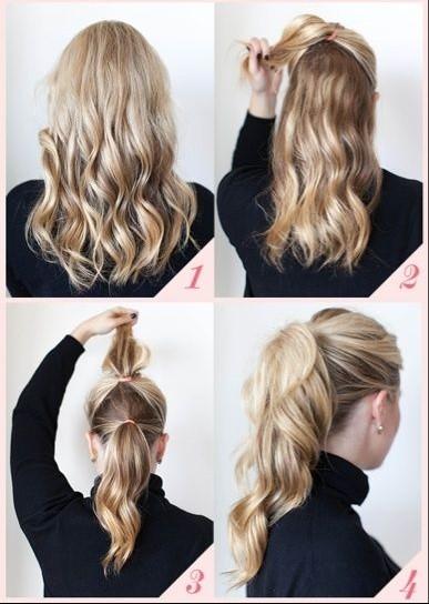 Как собрать средние волосы красиво