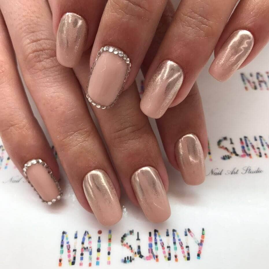 Nude Ombre Nail Designs with Diamonds