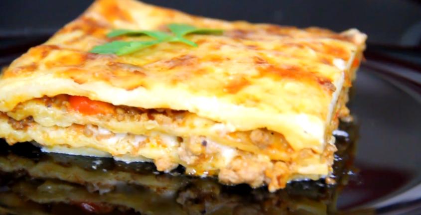 Лазанья рецепт с фаршем в духовке в домашних с соусом бешамель