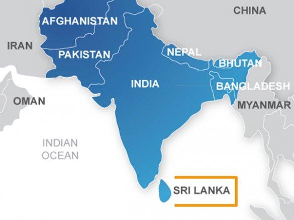 Цейлон на карте мира