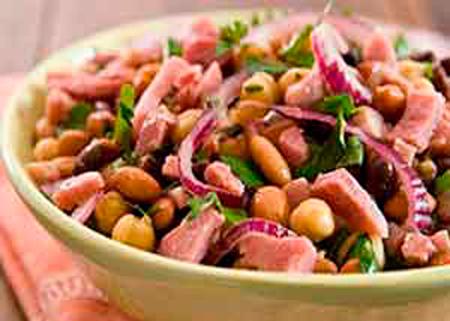 Рецепт салата с фасолью с ветчиной