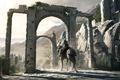 Картинка ворота, всадник, Assassins Creed, руины