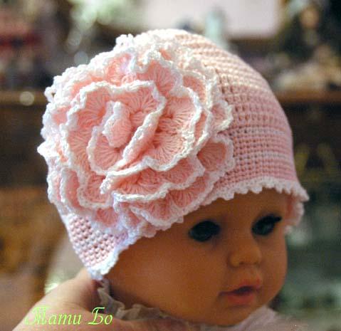 Детская шапочка Магнолия крючком