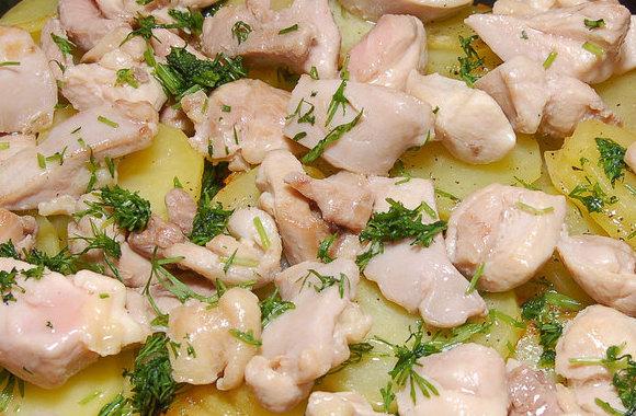 Филе курица с картошкой в духовке