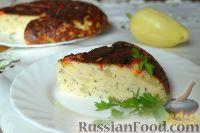 Фото к рецепту: Творожная запеканка с куриным фаршем и перцем (в мультиварке)