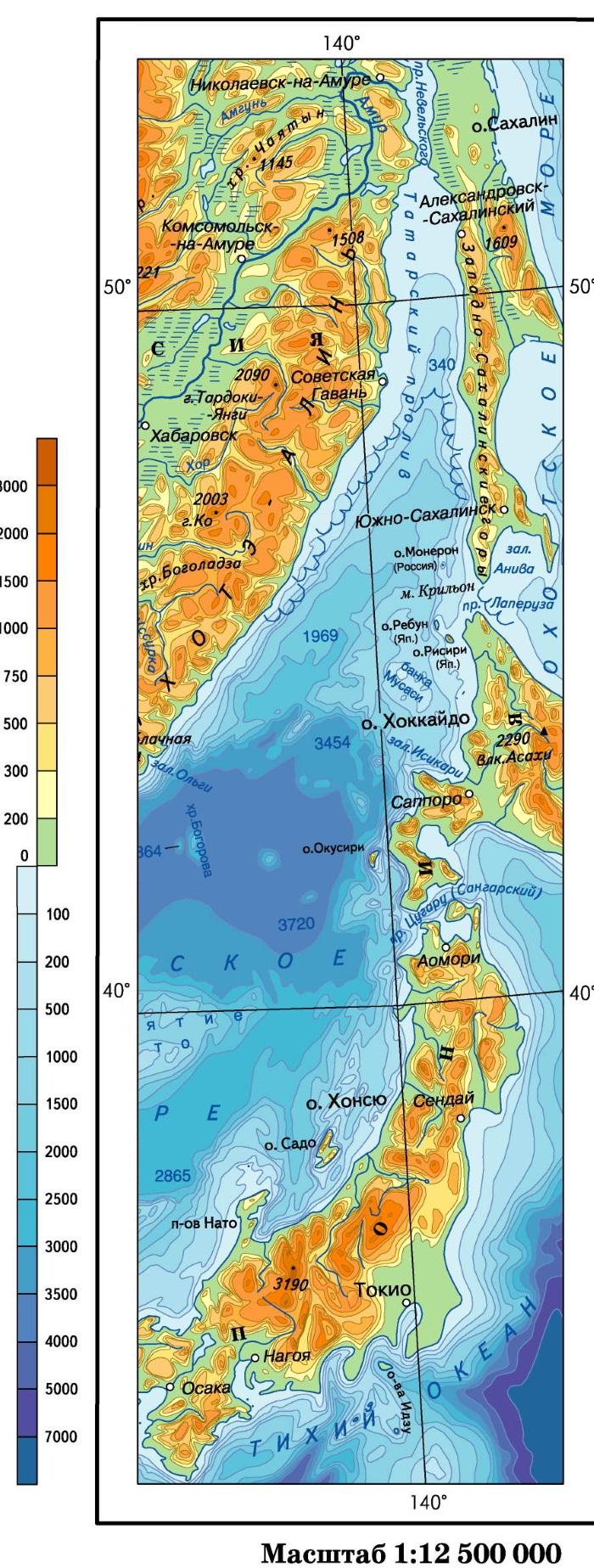 Где на карте находится остров сахалин