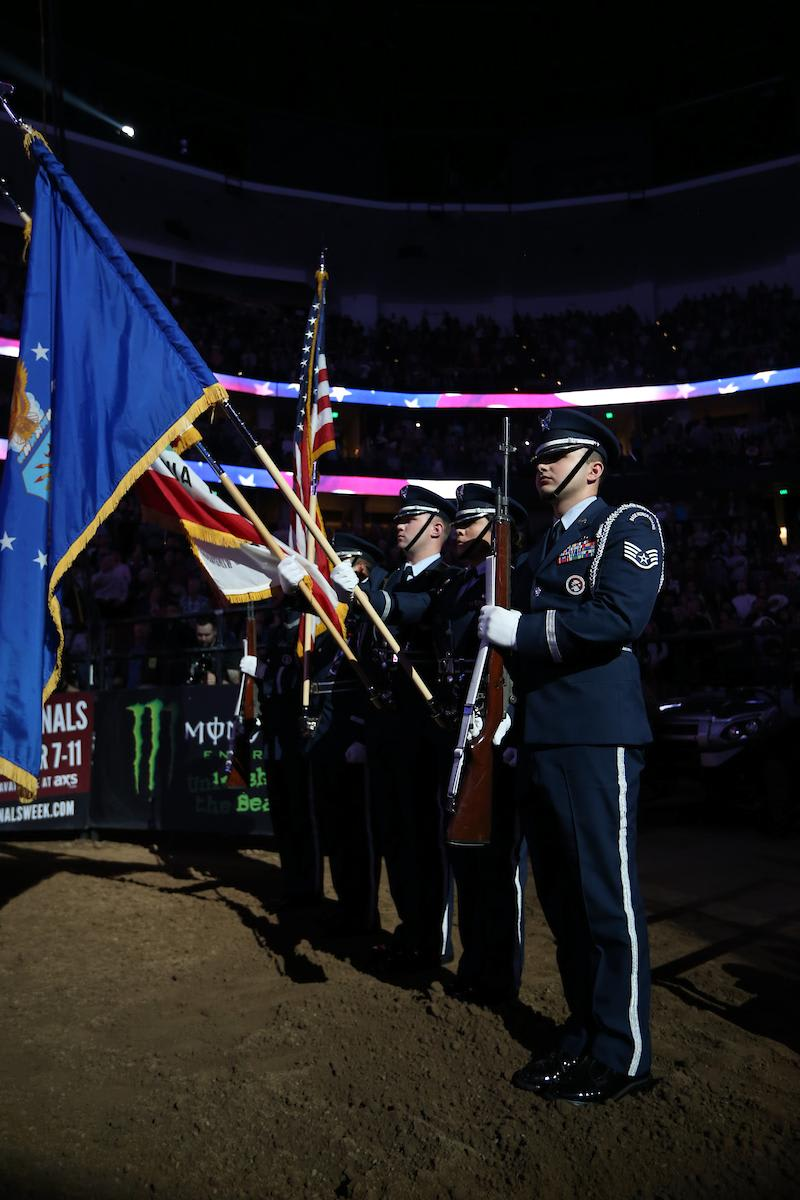 Air Force Blue Eagles Honor Guard in the opening during the second round in Anaheim during the 25th PBR: Unleash The Beast. Photo by Andy Watson