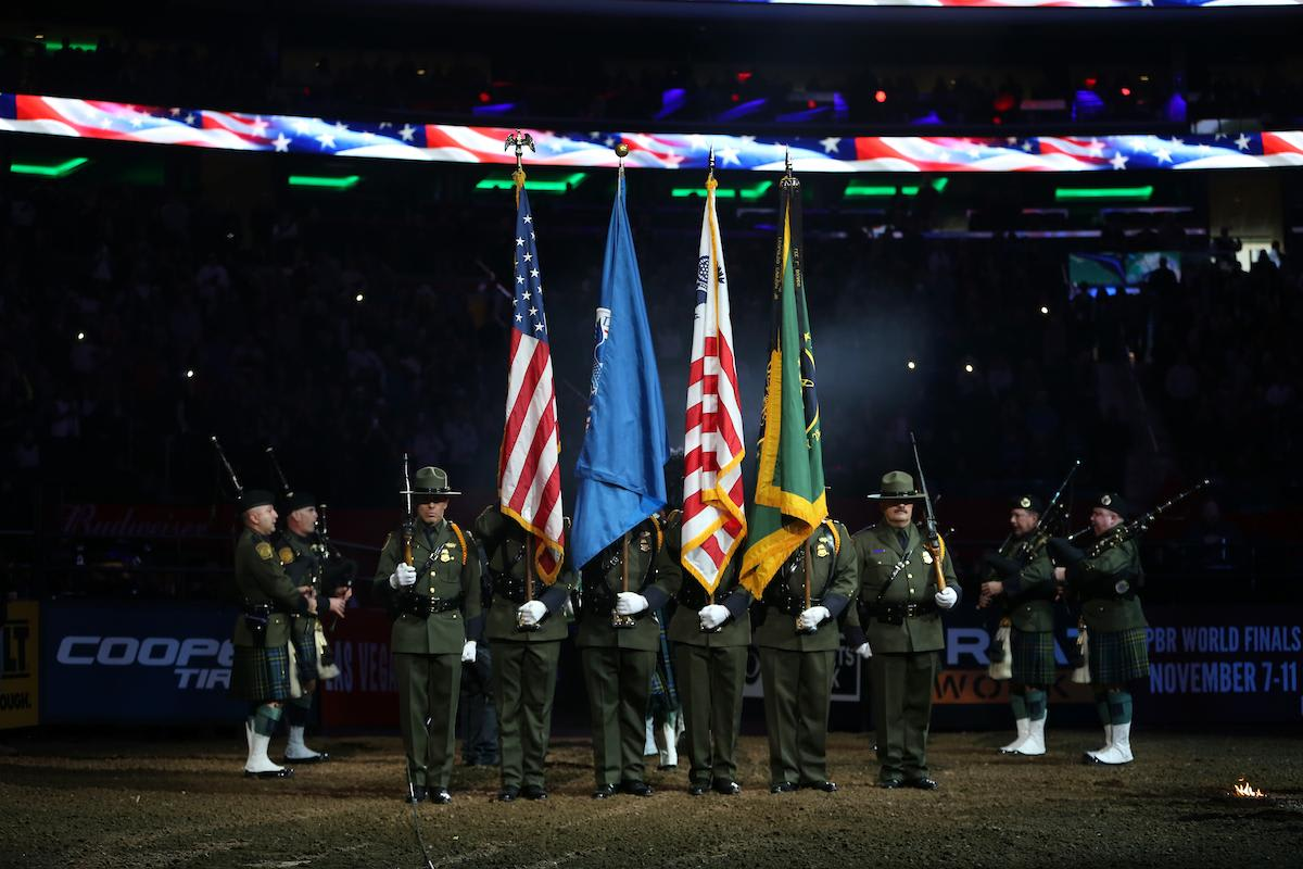 Border Patrol Color Guard in the opening of the first round of the 25th PBR: Unleash The Beast Monster Energy Buck Off at The Garden in New York City. Photo by Andy Watson