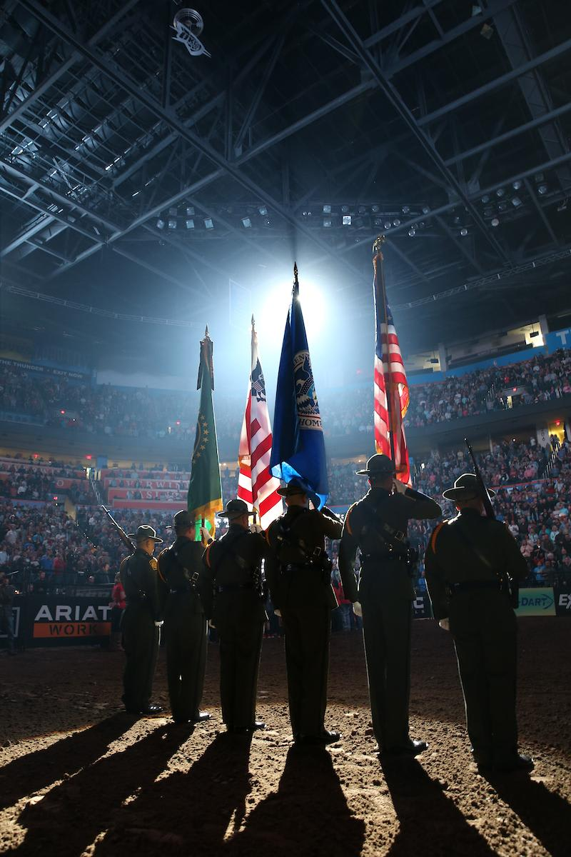 U.S. Border Patrol Honor Guard during the opening of the first round of the 25th PBR: Unleash The Beast in Oklahoma City. Photo by Andy Watson