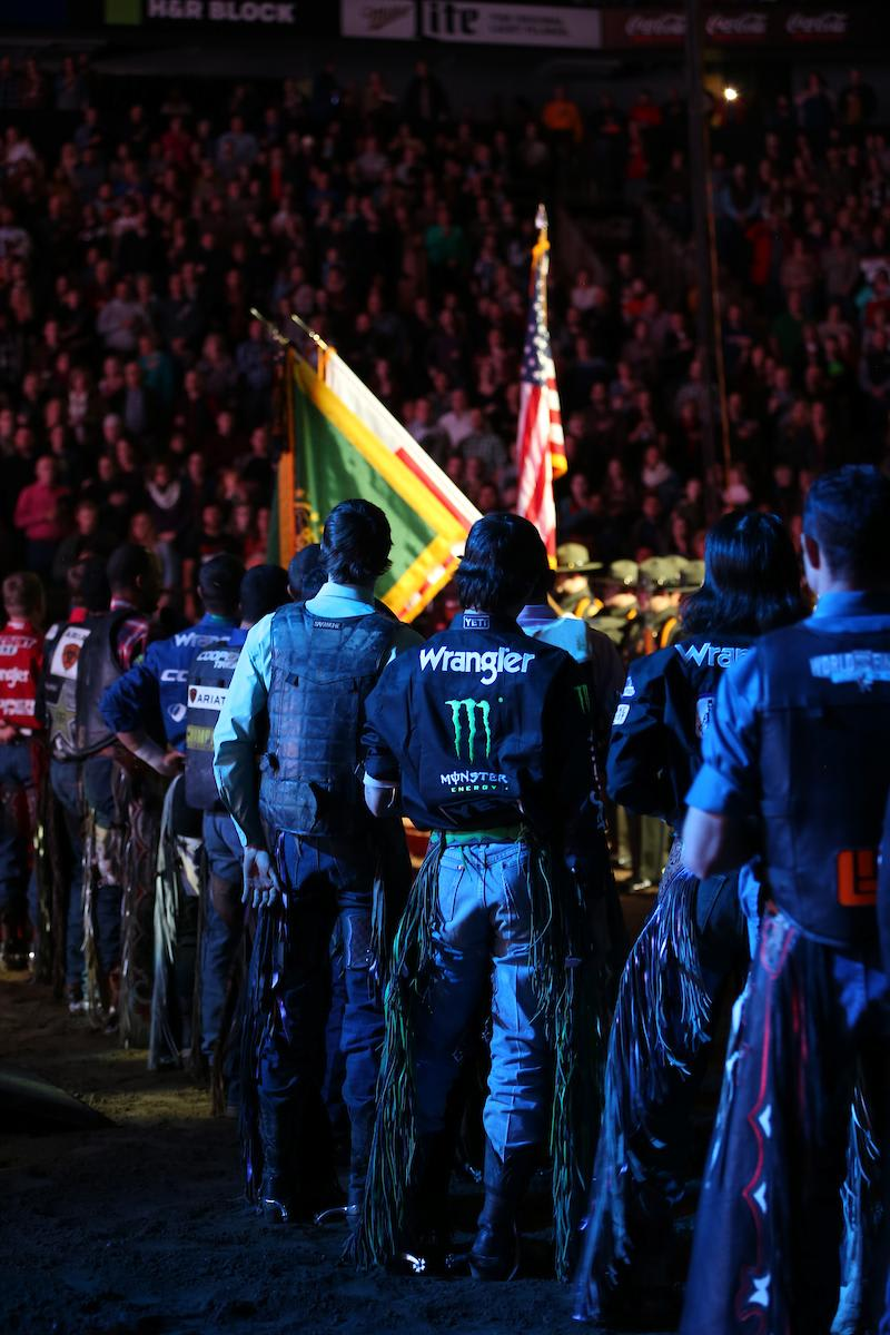 Cowboys, U.S. Border Patrol Honor Guard, Pipe and Drums in the opening of round 1 at The 25th PBR: Unleash The Beast, Caterpillar Classic in Kansas City. Photo by Andy Watson