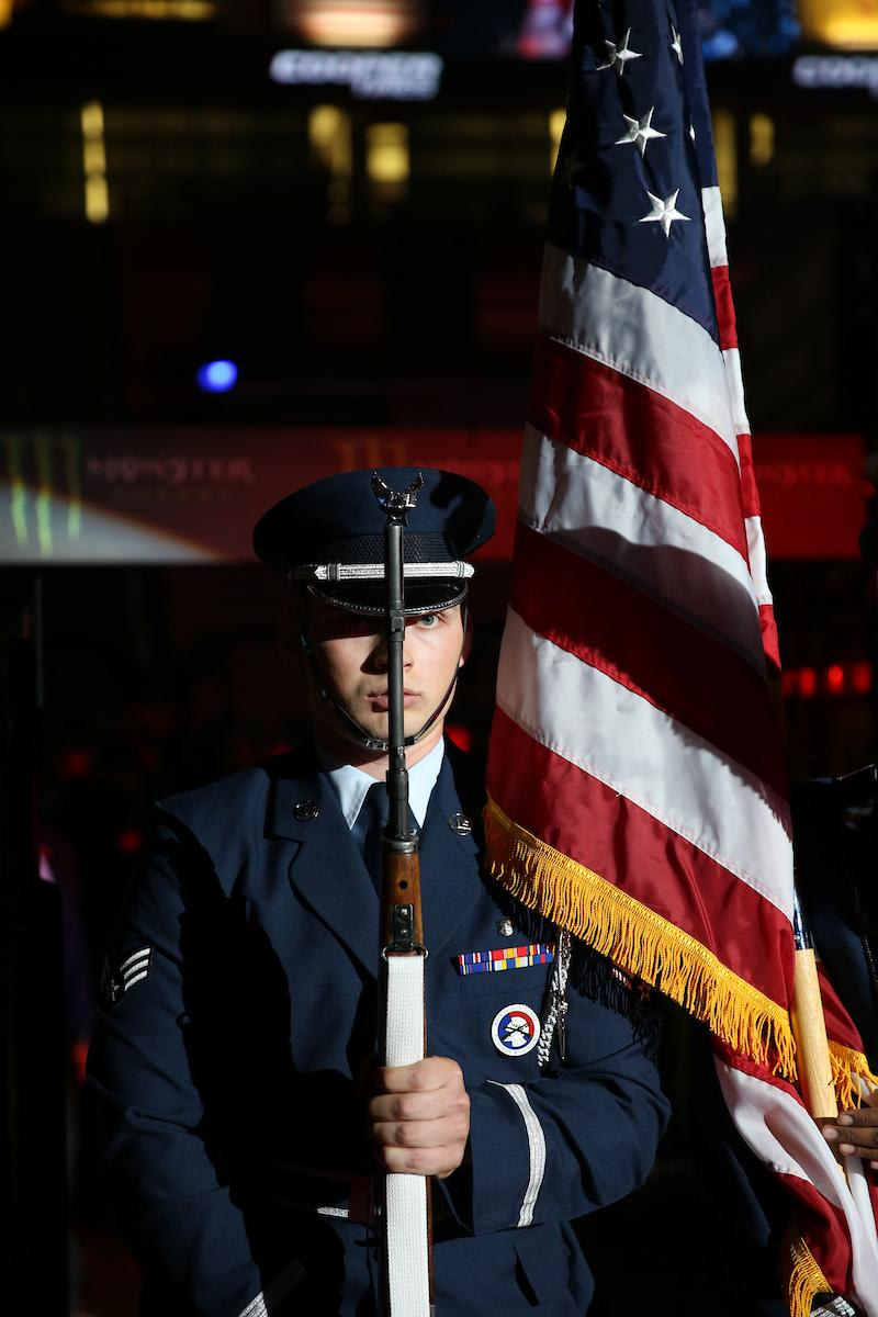 Kirtland Air Force Base Honor Guard in the opening during the first round of the Albuquerque PBR 25th Anniversary Unleash the Beast. Photo by Andy Watson