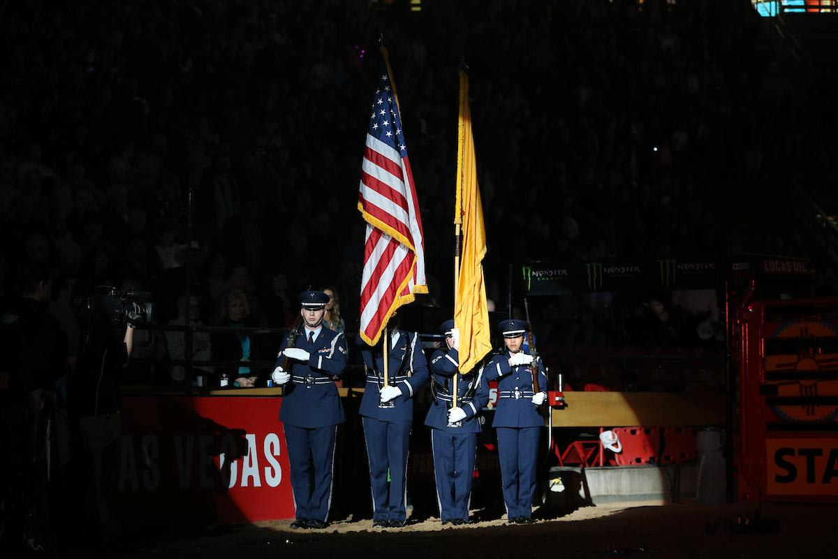 Kirtland Air Force Base Honor Guard in the opening during the third round of the Albuquerque PBR 25th Anniversary Unleash the Beast. Photo by Andy Watson