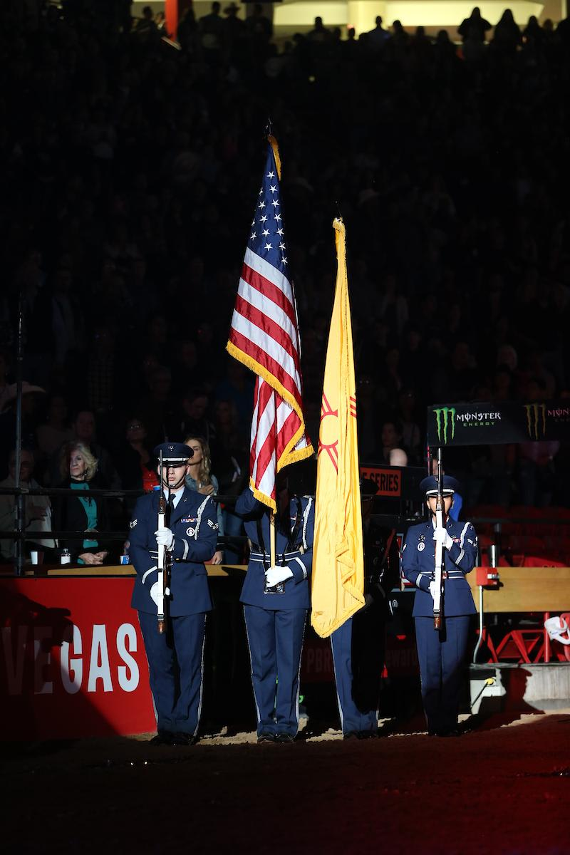 Kirtland Air Force Base Honor Guard in the opening during the third round of the Albuquerque PBR 25th Anniversary Unleash the Beast. Photo by Andy Watson  Filename