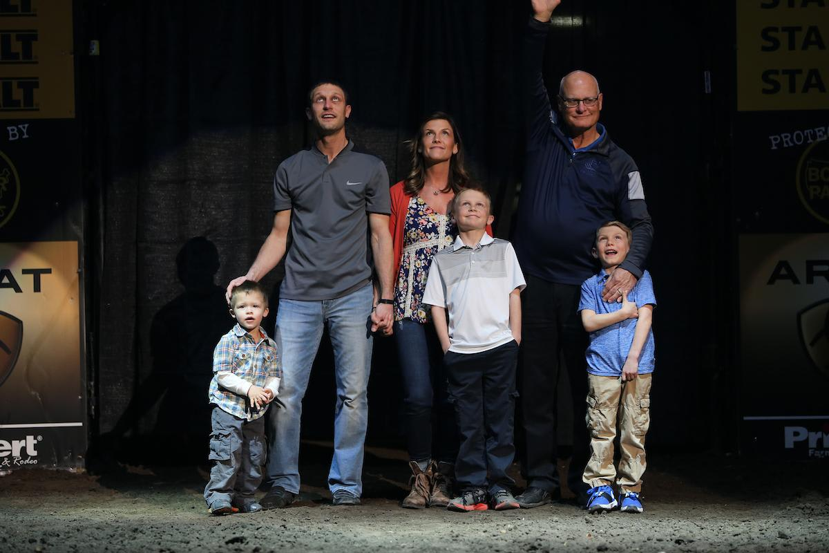 Family of Fallen Hero Army Staff Sgt. Robb Rolfing during the second round of the Sioux Falls PBR 25th Anniversary Unleash the Beast. Photo by Andy Watson