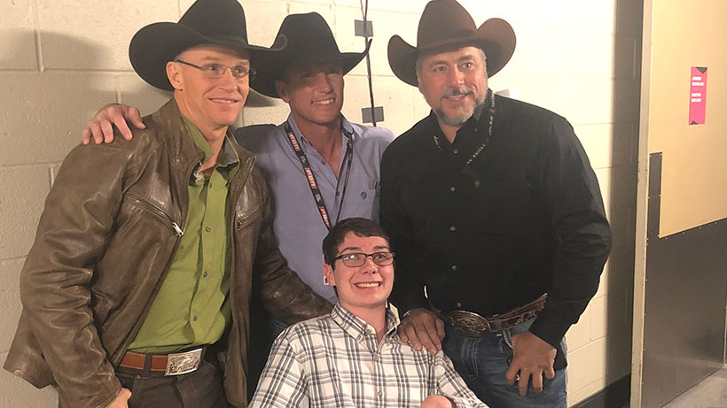 Ethan Brown with Ty Murray, Justin McBride and Adriano Moraes