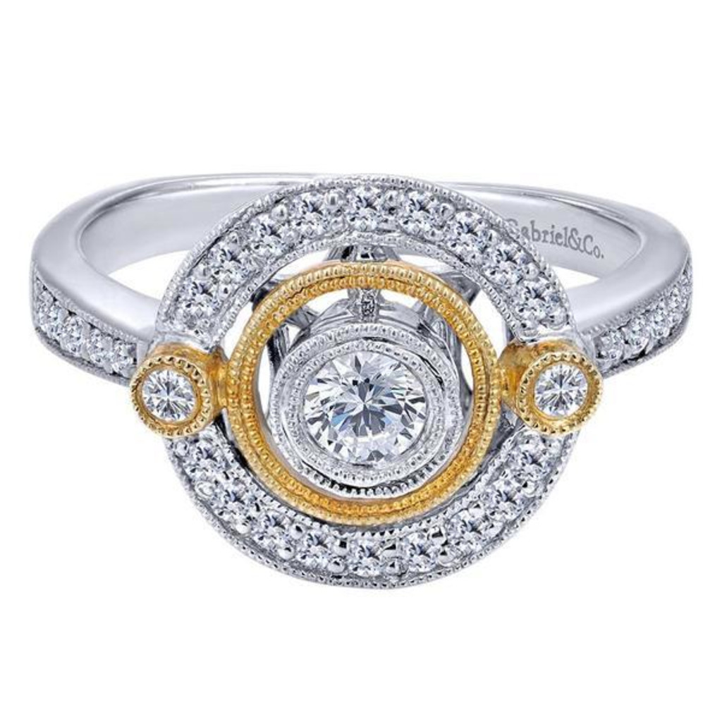 Diamonds ltd gabriel co 14k white yellow gold halo for Wedding ring companies