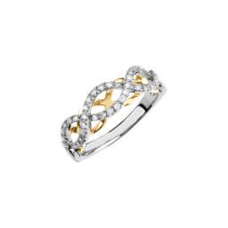 Swiss Ble Topaz Rhodolite Diamond Silver Ring