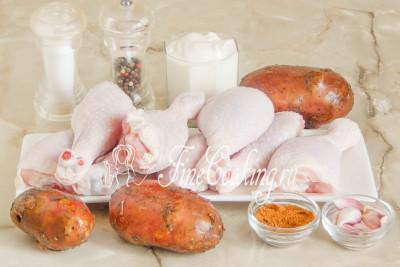 Курица в духовке с картошкой и сметаной с сыром в духовке