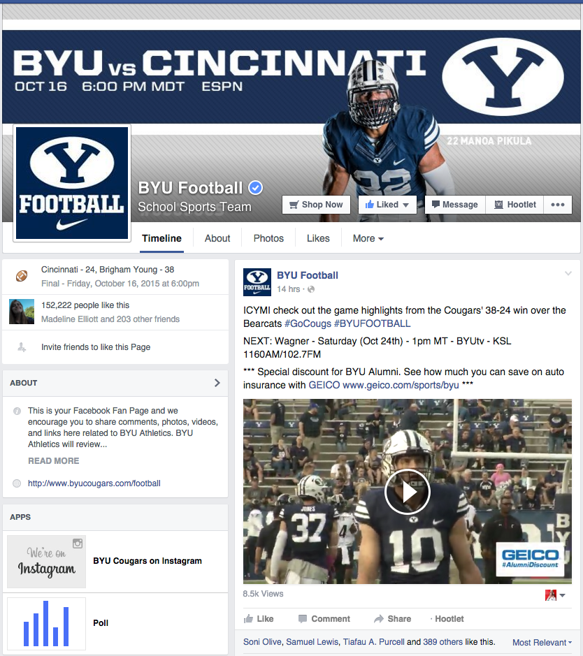 BYU Cougars Football: Facebook