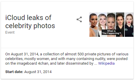 Celebrity photos leak