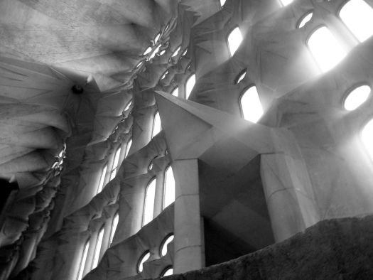 Interior of La Sagrada Familia - Barcelona in Black and White