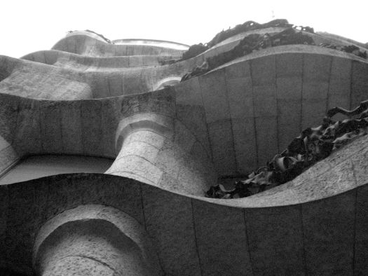 Looking up at La Pedrera - Barcelona in Black and White