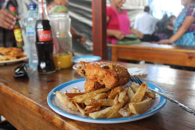 fried chicken Chichicastenago, Guatemala