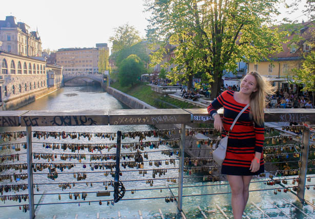 Bridge with love locks in Ljubljana