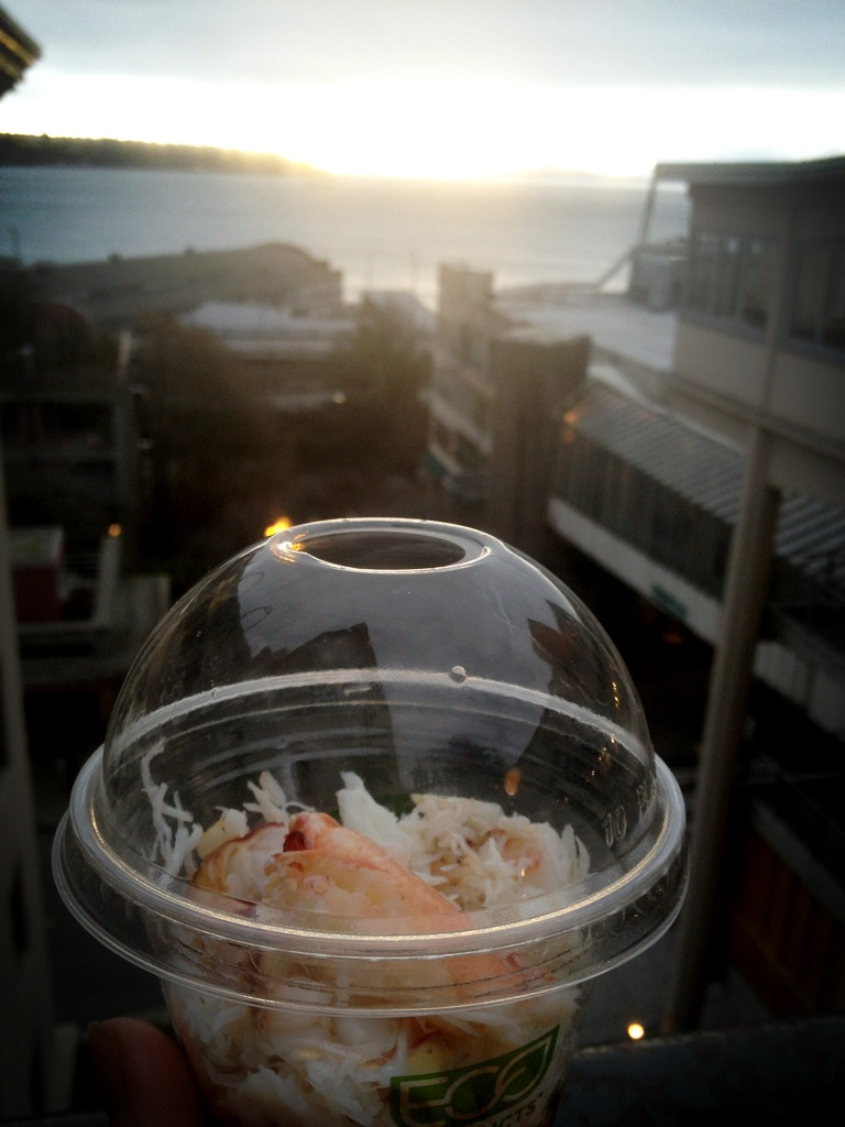 Snacking on some fresh crab meat. Grab your seafood of choice at the market and enjoy it with views of the water for a fraction of restaurant costs.