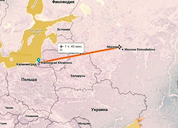 Сколько лететь на самолете до калининграда из москвы