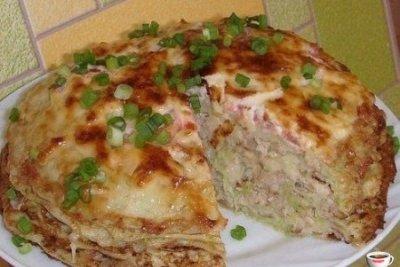 Кабачково сырный тортик с мясом пошаговый рецепт