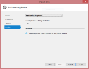 Publish Web Application dialog