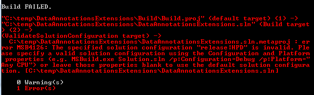 MSBuild - build failure - target platform HPD